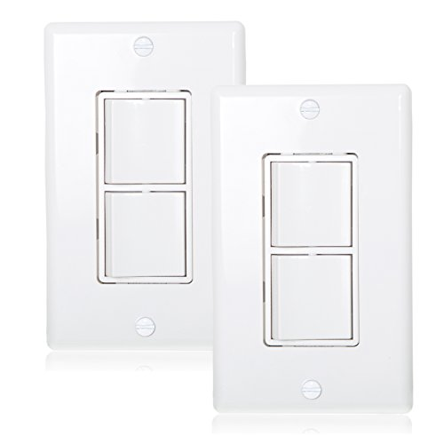 Maxxima AC Combination Switch White Wall Plates Included Duplex Rocker Switch 15 Amp Decorative (Pack of 2) Double Switch