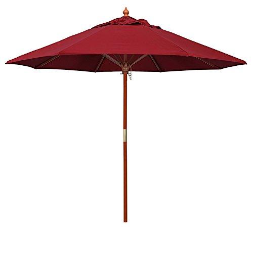 (Eurmax Elite Shade Market Umbrella - 9 ft Wooden Outdoor Sunshade Yard Patio Deck Umbrella (Burgundy))