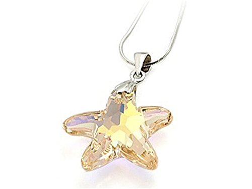 Yellow Color Crystal Starfish Pendant Necklace made with Swarovski Elements