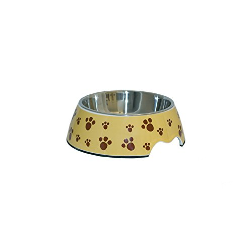ALEKO LPB1506M Medium Pet Food Bowl, Melamine with Steel Removable Bowl, Tan Color with Paw Prints
