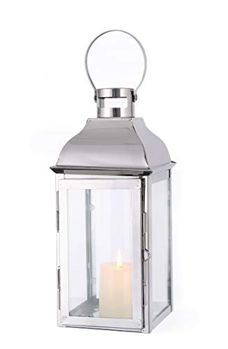 """JHY Design Silver Decorative Lanterns 15"""" High Stainless Steel Candle Lanterns with Tempered Glass for Indoor Outdoor, Events, Parities and Weddings Vintage Style Hanging Lamps ..."""