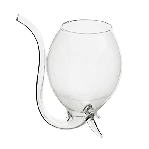 "Oenophilia Wino Sippers - Set of 2, Built-in Glass Straw, Hand-Blown, Hand Wash Only, Measures 11"" x 4"" x 2.25"""