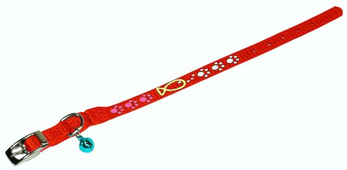 Hamilton Safety Cat Collar with Bell, Fish Squiggle Pattern
