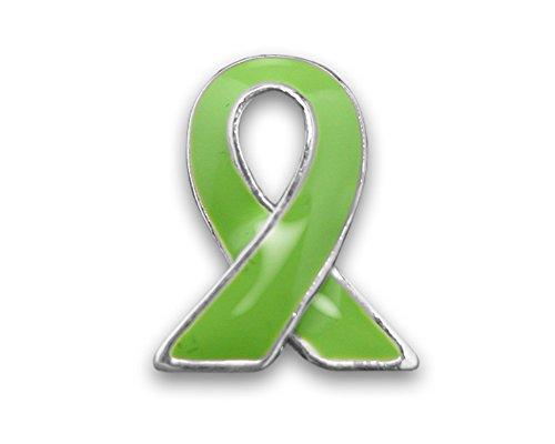 Lime Green Ribbon Lapel Pin - Silver Trim (Retail) ()