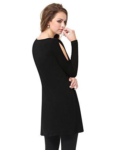 Alisapan a T girocollo 14uk maniche tunica lunghe nere shirt EzqwqS5