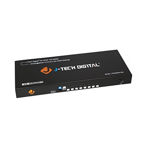 J-Tech Digital JTD4KSP0108 Premium Quality Ultra HD 4K 60HZ 1x8 HDMI Splitter High Resolutions Up To 4Kx2K 36-Bit Deep Color