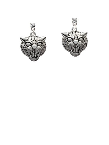 Large Wildcat - Mascot Clear Crystal Post Earrings