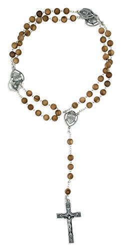 Sacred Heart of Jesus Rosary with Genuine Olive Wood Beads