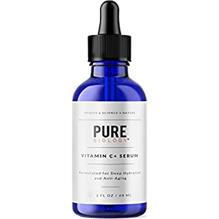 Pure Biology Premium Vitamin C Serum for Face with Hyaluronic Acid & Vitamin E, Brightening Antioxidant Serum for Face, Acne and Dark Spot Corrector, Skin Care for Men & Women (2 oz)