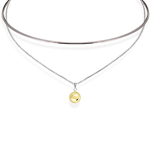 Cape Cod Jewelry Solid 925 Sterling Silver Designer 2 in 1 Necklace/Collar. (14k Yellow Gold Plated Ball)