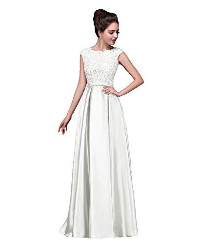 encaje de cuello Bowknot V de Beauty Emily noche Blanco manga raso vestido de fZwqxqtE8