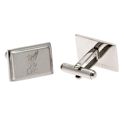 Liverpool FC Stainless Steel Rectangular Cufflinks (One Size) (Silver) - Cufflinks Steel Rectangular