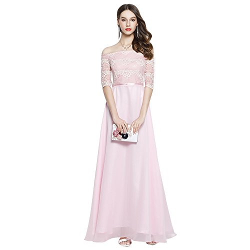 Long Formal Fit Short Sleeve cotyledon Party Pink Women's Prom Shoulder Slim Off Dresses Gowns 8w71qw