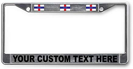 Voicpobo Custom Your Text Netherlands-Antilles Country Flag Metal License Plate Frame Funny,Cute License Plate Cover,Car Tags Frame,Gifts for Women,for Men