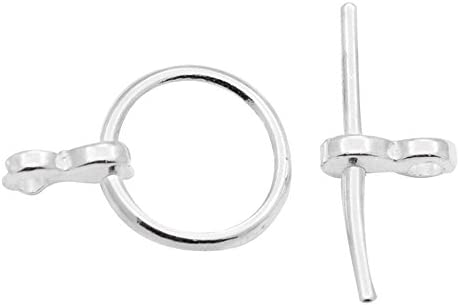 10 x Quality Silver Plated Round Circle Toggle T Bar Clasps 15mm Circle 19mm Bar