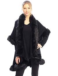 Women's Winter Warm Open Front Solid Color Ruana Shawl Faux Fur Trim Poncho Vest Arm Hole Sweater