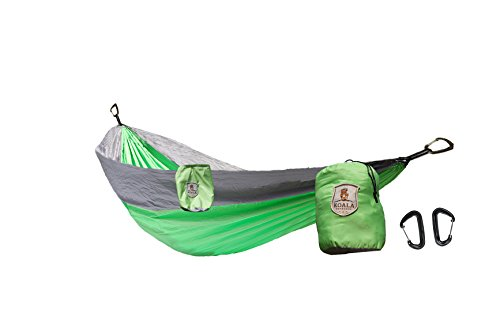 Koala Portable Camping Hammock Bed 2 Person/Double + 2-Carabiners + Stuff Sack Holds 400 pounds