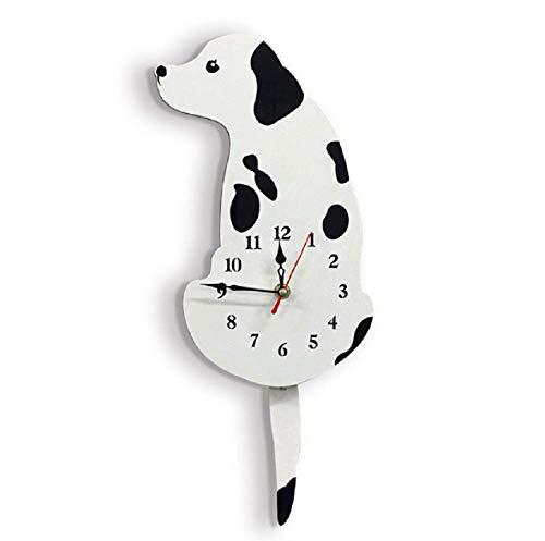 Sulin DIY Clock Living Room Acrylic Wag Tail Dog Home Creative Christmas Wall Clock,White