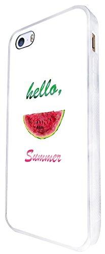 607 - Watermelon Slice Hello Summer Design iphone SE - 2016 Coque Fashion Trend Case Coque Protection Cover plastique et métal - Blanc