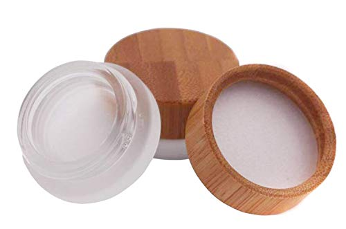 2PCS 5ml 5g Environmental Bamboo Lid Frosted Glass Bottle Cream Jars Empty Refill Cosmetic Sample Packing Travel Containers With PP Liner For Makeup Eyeshadow Cream Lotion