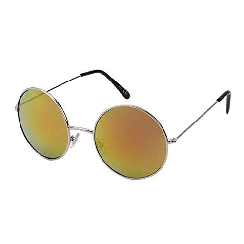 Sonnenbrille große Round Glasses John-Lennon-Style 400 UV Metall verspiegelt orange nfKDLHVF2H