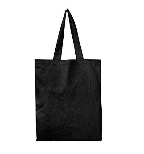 SET OF 6 - Reusable 100% Cotton Canvas Tote Bags By BagzDepot | Convenient & Environmentally Friendly Grocery & Shopping Bags | Budget Friendly, Wholesale, Thick Bags ()