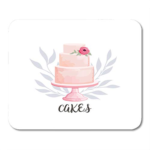 Nakamela Mouse Pads Badge Cream for Cake and Bakery with Floral Watercolor Style Flower Baked Mouse mats 9.5