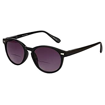 """The Brilliance"" Best Bifocal Sunglasses - Round, Full Frame Reading Sunglasses - Black - 1.25"