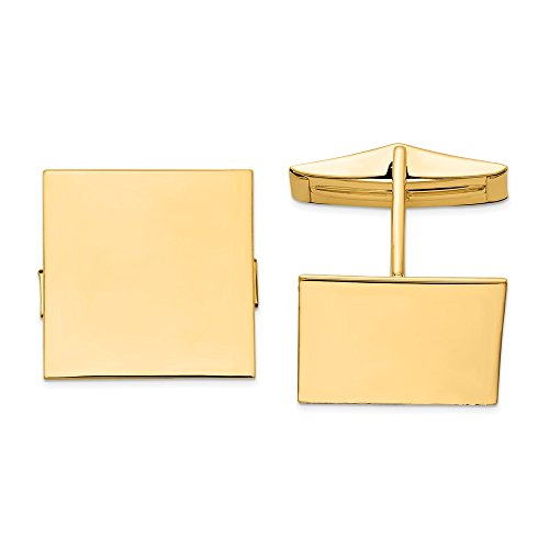 - 14K Yellow Gold Square Cuff Links Men's Solid 17 mm 17 mm Cuff Links Accessory