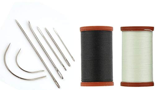 Sale! Upholstery Repair Kit! Coats & Clark Extra Strong Upholstery Thread 1 Naturel Spool, 1 Black Spool (150-Yard) Includes a Set of Heavy Duty Assorted Hand Needles, ()