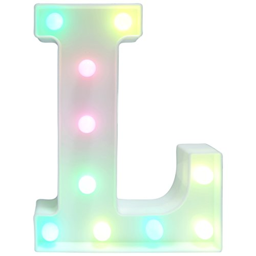 Alphabet Lamp (Letters Light Letters Party Supplies Kids Alphabet Colorful Letters Lamp Battery Operated Alphabet Table Decorations for Wall Decoration,Kids' Room,Living Room,Bedroom (L))