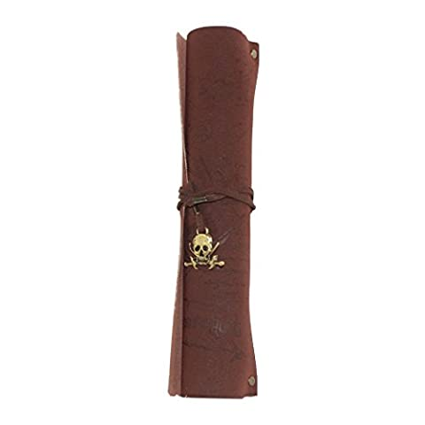 Retro Pirate Map Imitation Bronze Pendants Leather Roll Pen Holder - (Pirata Mappa)