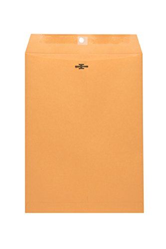 10x15 Clasp Envelopes - Brown Kraft Catalog Mailing Envelope with Clasp Closure & Gummed Seal - 28lb Heavyweight Manila Envelopes for Home, Office, Business, Legal or School - 100 Box (10x15)