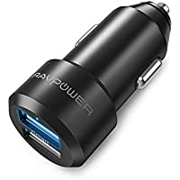 RAVPOWER Cargador de Coche 24W 4.8A Dual USB Adaptador Automóvil con Tecnología iSmart, Funda de Material de Aluminio…
