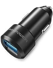 Mini Cargador de Coche Ravpower 24W 4.8A Dual USB, Adaptador Automóvil Con Tecnología Ismart, Funda de Material de Aluminio, para Iphone, Ipad, Samsung Galaxy, Lg Nexus, Motorola, Blackberry y Más - Negro