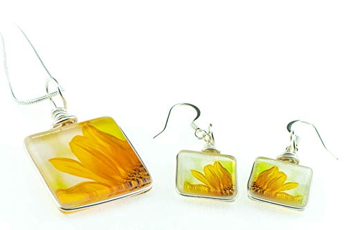Sunflower Necklace and Earring Set - Handmade Glass Earrings and Pendant on Sterling Silver (Naturalist Glass)