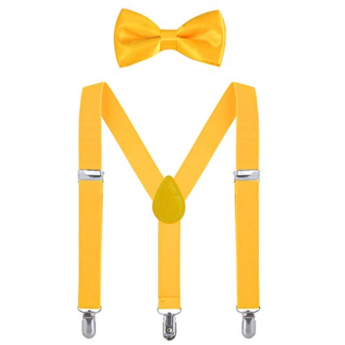Kids Suspender Bow Tie Sets - Adjustable Braces With Bowtie Gift Idea for Boys and Girls by WELROG (Yellow, 31Inches (7 Years to 5 Feet Tall))
