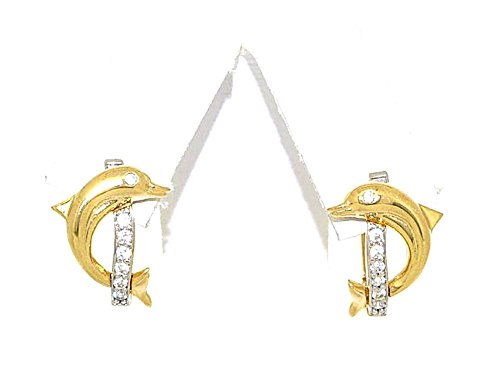 14k Yellow Gold Dora - 14K White And Yellow Gold Dolphin CZ Hoop Earrings