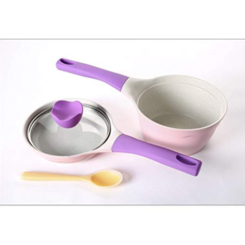 Aluminum Non Stick Butter Warmer - Sububblepper Aluminum Milk Saucepan Non-stick Coating Milk Pan Butter Warmer Cookware (Color : Purple)