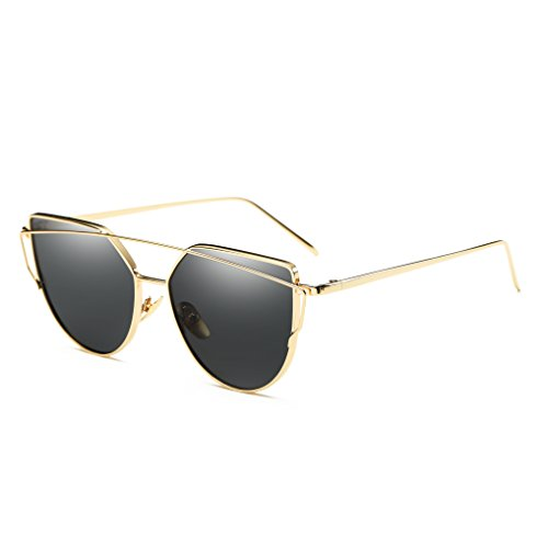 Bonvince Cat Eye Mirrored Flat Lenses Street Fashion Metal Frame Women Sunglasses - For Womens Gold Sunglasses Rim