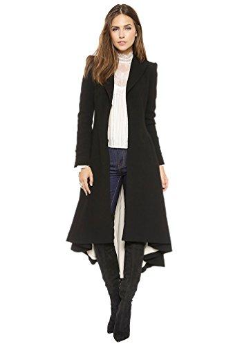 YAANCUN Mujer Otoño E Invierno Dobladillo Asimétrico De Frente Abierto Drapeado Abrigo Largo Chaqueta Negro