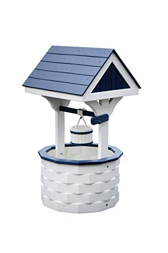 DutchCrafters Small Wishing Well with Poly Roof (White/Patriotic Blue)