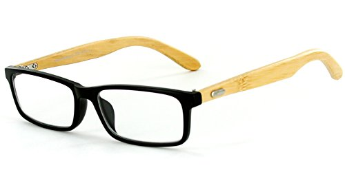 Bamboo Tortoise Shade - Zen Temple Eco-Chic Wayfarer Reading Glasses with Natural Bamboo Temples Color Black, Power: 1.75