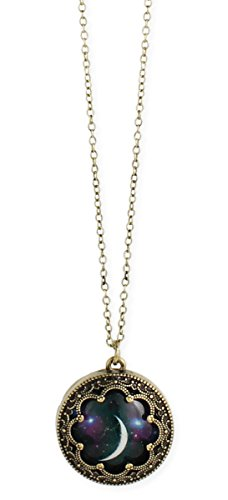 Zad Jewelry Burnished 16 Metal Celestial Moon Print Dome Necklace (Gold-Plated)