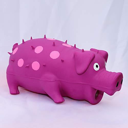 VIMIGOO Latex Dog Chew Toy Grunting Pig Sound Play,Pig Pet Toy (Purple)