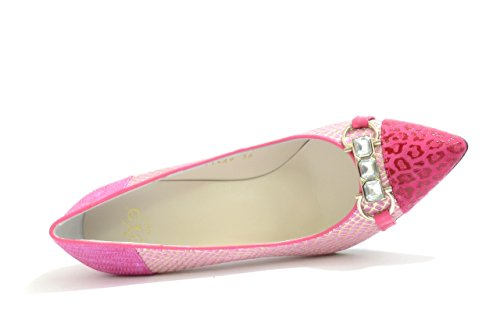 EYE Pink Women's with Court Ladies Trim Embellishment Fuschia 126 G Print Leather Jewel Pointed Snake Shoes and qEgSER