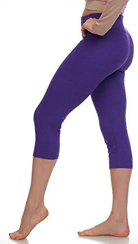 LMB Lush Moda Extra Soft Capri Leggings - Variety Of Colors - Yoga Waist - (Purple Capri Pants)