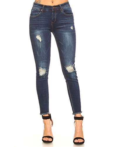- Monkey Ride Jeans Women's Skinny Jeans Slim Fit Destroyed with Frayed Hem Denim 7, DK/Blue
