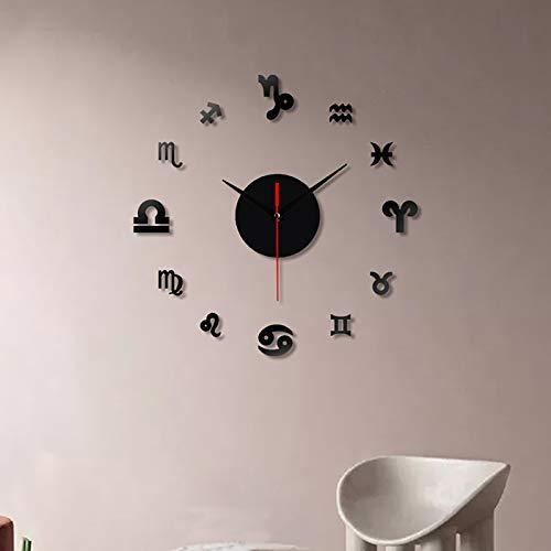 11-23 Inch Reloj Silencioso Number DIY 3D Reloj de Pared Cuarzo Decoración de la Oficina en Casa Reloj de Arte Vinilos Decorativos Artísticos(Y)