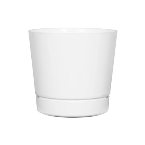 Full Depth Round Cylinder Pot, White, 8-Inch ()